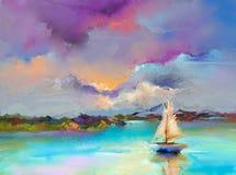 Imagen del impresionismo de las pinturas del paisaje marino con el fondo de la luz del sol stock de ilustración