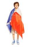 imagen del muchacho de la Entero-longitud envuelta en la bandera de Francia Fotografía de archivo