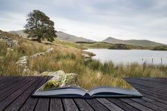 Imagen del paisaje de la tarde del lago Llyn y Dywarchen en otoño en Sn Fotos de archivo libres de regalías