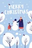 Imagen del paseo del invierno en parque nevoso Madre con un niño que hace un muñeco de nieve stock de ilustración