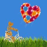 Imagen del pequeños hombre, flores y baloons decorativos en una bicicleta contra el cielo Imagen de archivo