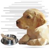 Imagen del perrito y del cuenco del labrador retriever con el punto bajo del hueso polivinílico libre illustration