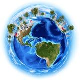 Imagen del planeta de la tierra con los edificios en superficie ilustración del vector
