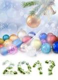 Imagen del primer de la tarjeta de Navidad Imágenes de archivo libres de regalías