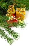 Imagen del primer de los regalos de la Navidad Fotografía de archivo