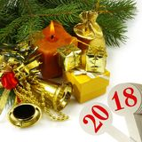 imagen del primer hermoso de la tarjeta de Navidad Imagen de archivo