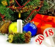 imagen del primer hermoso de la tarjeta de Navidad Imagenes de archivo