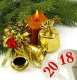 imagen del primer hermoso de la tarjeta de Navidad Foto de archivo libre de regalías