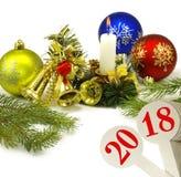 imagen del primer hermoso de la tarjeta de Navidad Fotos de archivo libres de regalías