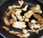Imagen del sartén que cocina setas cortadas del boleto con solamente el acompañamiento del ajo Plato delicioso foto de archivo