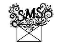 Imagen del SMS blanco y negro del sobre del logotipo en Flor Imagen de archivo