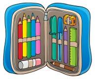 Imagen 1 del tema de la caja de lápiz stock de ilustración