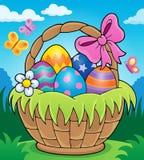 Imagen 2 del tema de la cesta de Pascua ilustración del vector