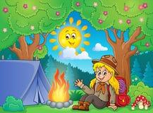 Imagen 2 del tema de la muchacha del explorador stock de ilustración