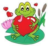 Imagen 2 del tema de la rana de la tarjeta del día de San Valentín Imagen de archivo