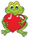 Imagen 1 del tema de la rana de la tarjeta del día de San Valentín Foto de archivo