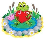 Imagen 3 del tema de la rana de la tarjeta del día de San Valentín Imagen de archivo libre de regalías