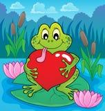 Imagen 4 del tema de la rana de la tarjeta del día de San Valentín Fotos de archivo
