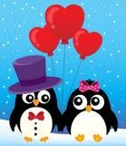Imagen 2 del tema de los pingüinos de la tarjeta del día de San Valentín Fotos de archivo