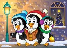 Imagen 5 del tema de los pingüinos de la Navidad stock de ilustración