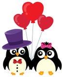 Imagen 1 del tema de los pingüinos de la tarjeta del día de San Valentín Imagen de archivo