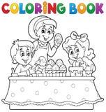 Imagen 1 del tema de Pascua del libro de colorear Imágenes de archivo libres de regalías