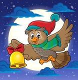 Imagen 2 del tema del búho de la Navidad Imagen de archivo