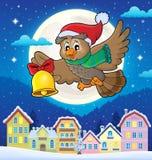 Imagen 4 del tema del búho de la Navidad Imagen de archivo