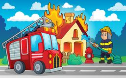 Imagen 4 del tema del bombero Foto de archivo libre de regalías