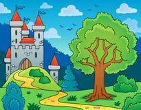 Imagen del tema del castillo y del árbol Foto de archivo libre de regalías