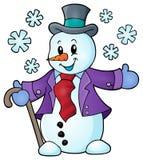 Imagen 1 del tema del muñeco de nieve del invierno Fotos de archivo