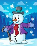 Imagen 2 del tema del muñeco de nieve del invierno Fotografía de archivo