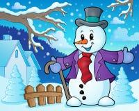 Imagen 3 del tema del muñeco de nieve del invierno Imagen de archivo