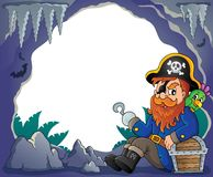 Imagen 4 del tema del pirata que se sienta Imagen de archivo libre de regalías