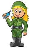 Imagen 1 del tema del soldado de sexo femenino Foto de archivo