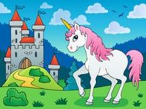Imagen 5 del tema del unicornio del cuento de hadas Foto de archivo