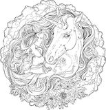 Imagen del unicornio y de la muchacha en nubes
