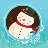 Imagen del vector del copo de nieve de la insignia del muñeco de nieve del círculo del invierno Imagenes de archivo