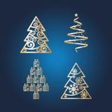 Imagen del vector de la abstracción de árboles de navidad en un fondo oscuro stock de ilustración