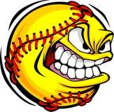 Imagen del vector de la cara de la bola del beísbol con pelota blanda Fotos de archivo libres de regalías