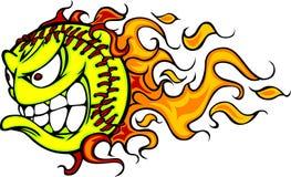 Imagen del vector de la cara de la bola el flamear Fastpitch Fotos de archivo libres de regalías