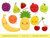Imagen del vector de la comida vegetariana Fruta alegre Fotos de archivo