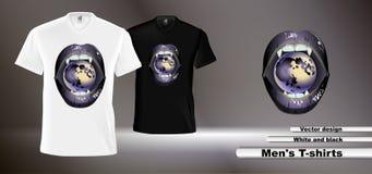 Imagen del vector de las camisetas de los hombres blancos y negros libre illustration
