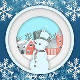 Imagen del vector de Photoframe del círculo del muñeco de nieve del copo de nieve del invierno Imagen de archivo