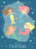 Imagen del vector de sirenas y de criaturas divertidas del mar bajo el agua en el fondo oscuro Ejemplo a mano marino para la much stock de ilustración