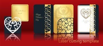 Imagen del vector de un ángel y de un corazón para el corte del laser del papel Un sistema de la tarjeta de felicitación a cielo  libre illustration