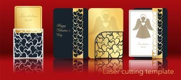 Imagen del vector de un ángel y de un corazón para el corte del laser del papel Un sistema de la tarjeta de felicitación a cielo  stock de ilustración