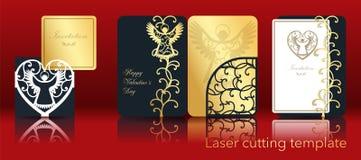 Imagen del vector de un ángel y de un corazón para el corte del laser del papel Un sistema de la tarjeta de felicitación a cielo  ilustración del vector