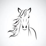 Imagen del vector de un diseño de la cabeza de caballo en el fondo blanco, logotipo del caballo Animales salvajes Fotografía de archivo