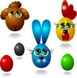 Imagen del vector de un espolón, de un gallo, de un conejito y de huevos de Pascua ilustración del vector